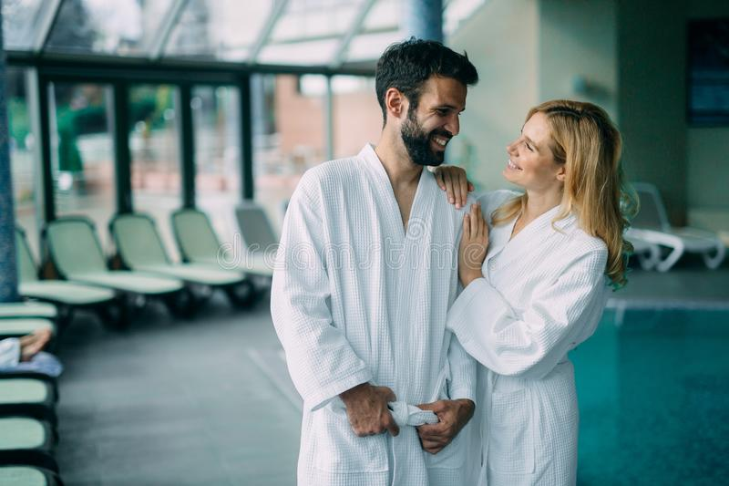 Portrait of attractive couple in spa center. Portrait of attractive couple enjoying in spa center royalty free stock photos