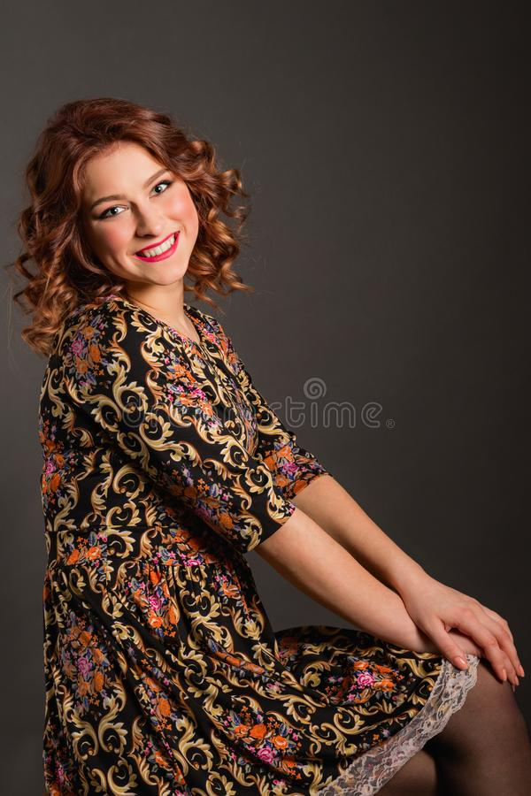 Portrait of attractive girl with angelic smile stock photography