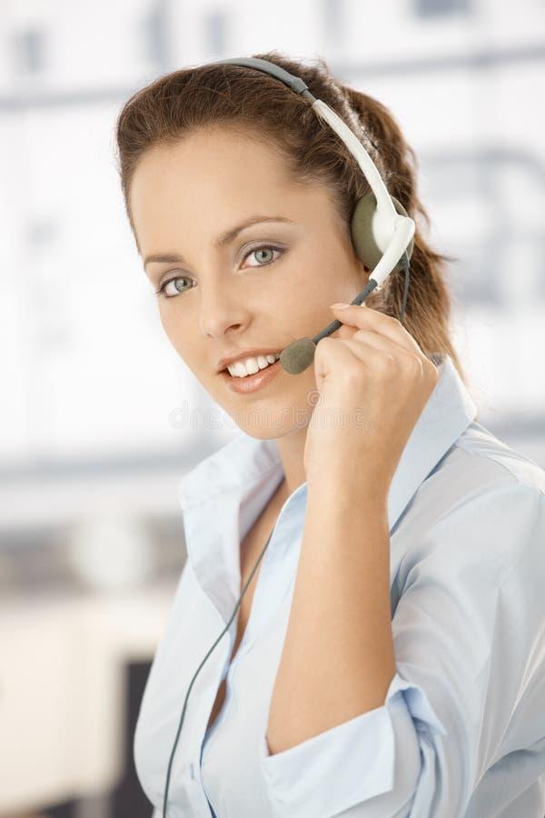 Portrait Of Attractive Girl Using Headphones Stock Images