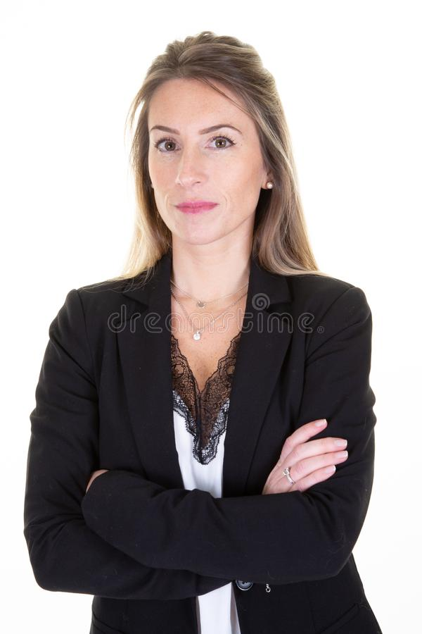 Portrait attractive lovely charming content cute business woman folded arms isolated over white background royalty free stock image