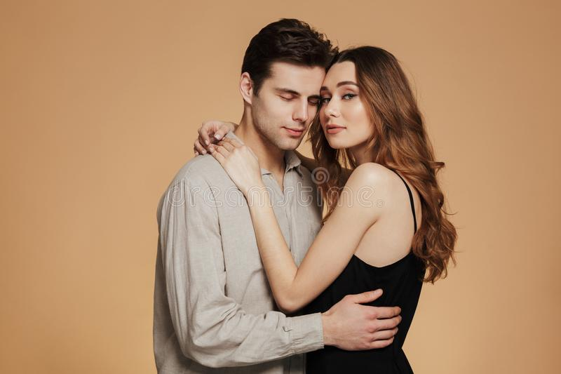 Portrait of an attractive loving couple hugging royalty free stock image