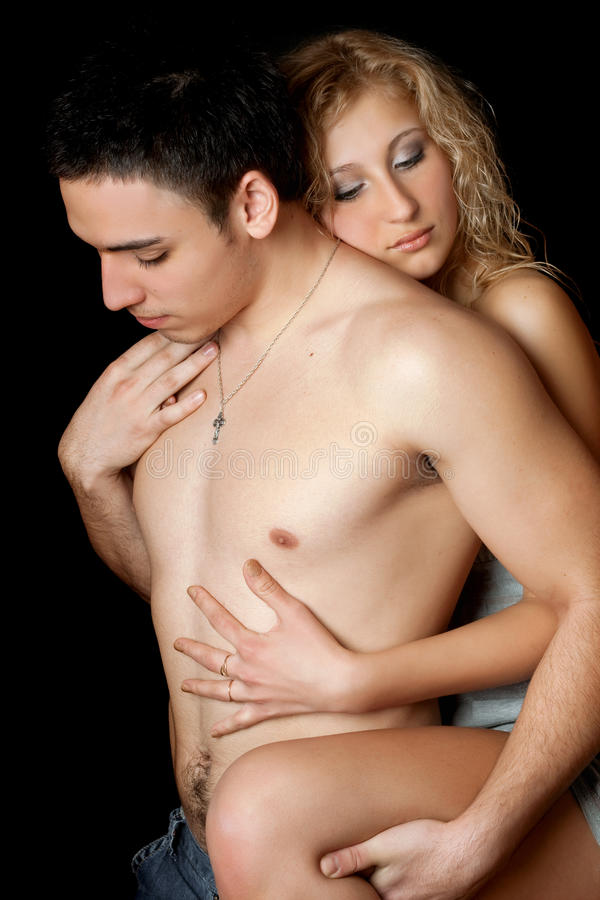 Portrait of attractive loving young couple stock photography