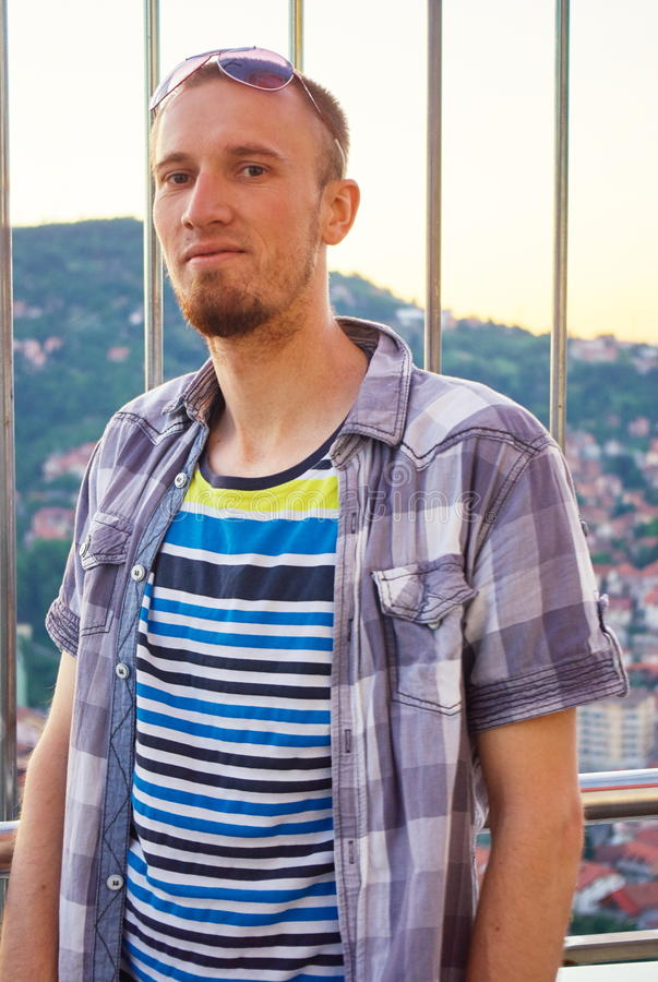 Portrait of attractive man with casual clothes royalty free stock images