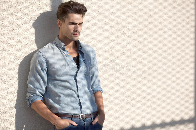 Portrait of attractive man dressed casual stock photography