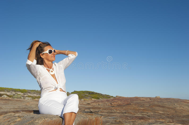 Portrait Attractive Mature Woman Outdoor Stock Photography