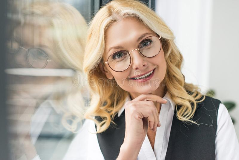 portrait of attractive middle aged businesswoman royalty free stock photos