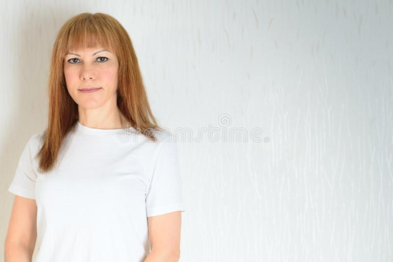 Portrait Attractive middle aged woman. stock photos