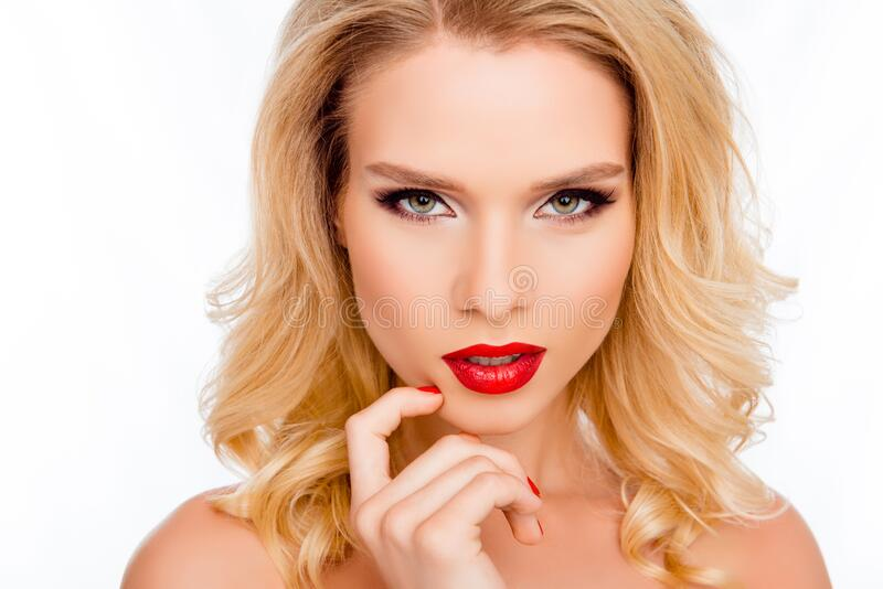 Portrait of attractive passion blonde with professional make up stock photos