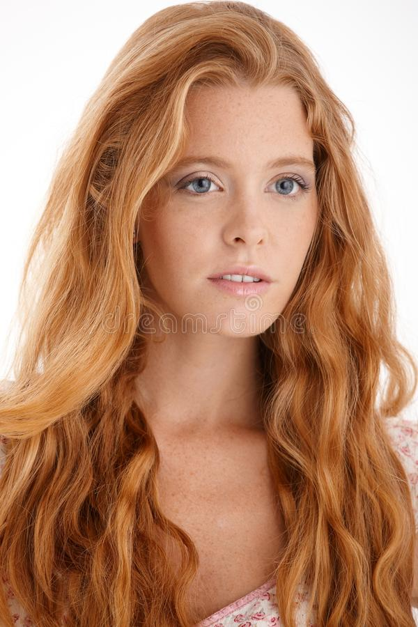 Portrait of attractive redhead stock photos