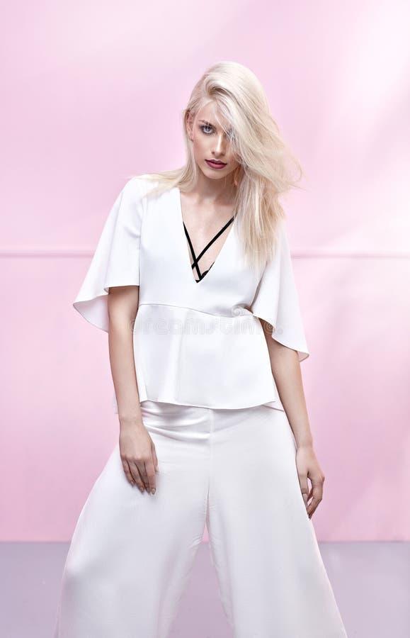 Portrait of a slim, blond model royalty free stock image