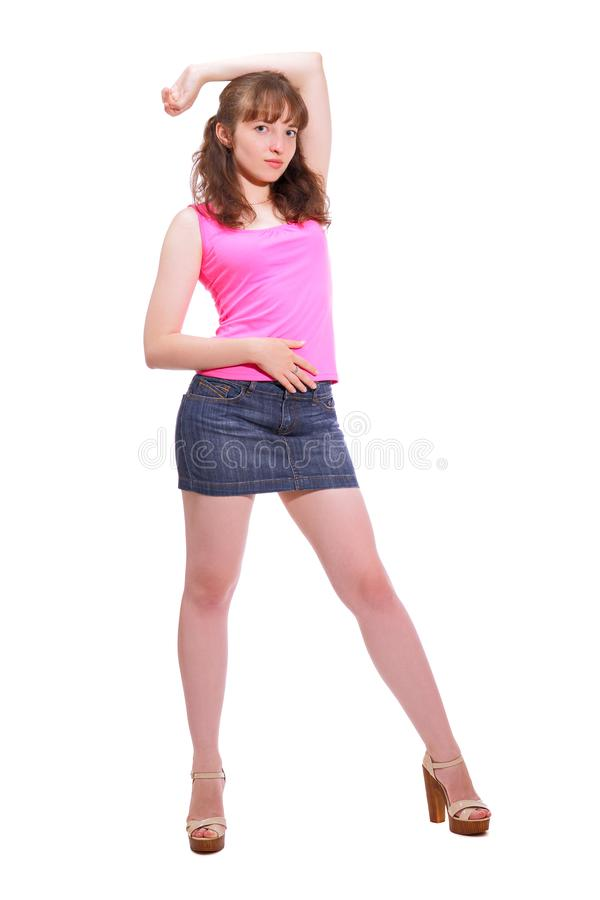 Portrait of an attractive slim full-length girl royalty free stock image