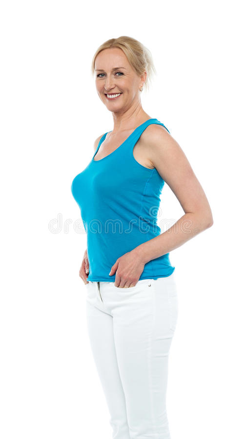 Portrait of an attractive woman in casual wear royalty free stock photos