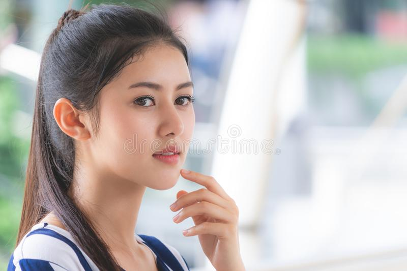 Portrait of Attractive woman face skin outdoor stock photos