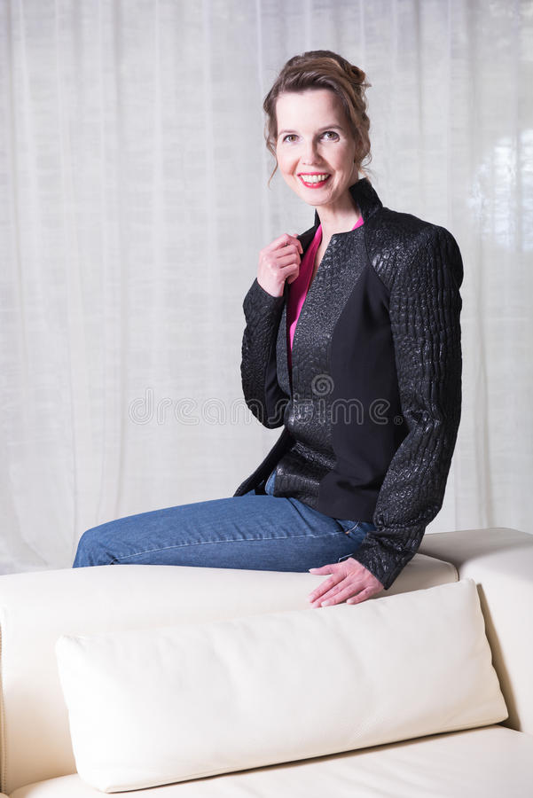 Portrait attractive woman with Jacket royalty free stock photos
