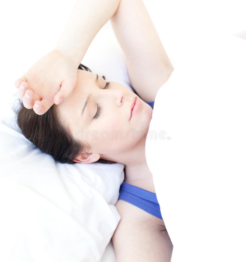 Portrait of an attractive woman sleeping royalty free stock photo