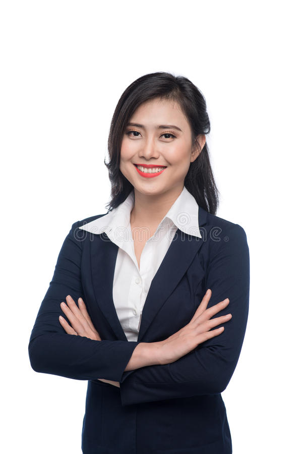 Portrait of an attractive young businesswoman isolated on white. stock photo