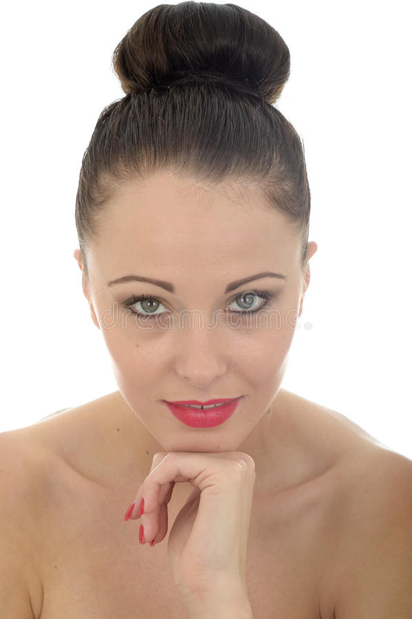 Portrait Of An Attractive Young Caucasian Woman Looking At The C stock images