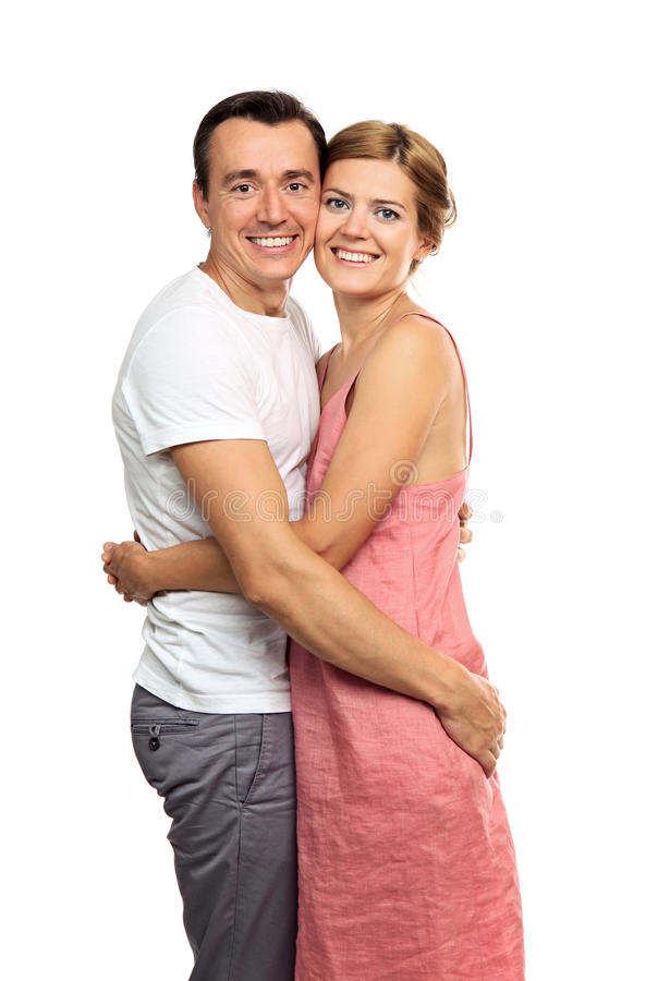 Portrait of an attractive young couple stock images