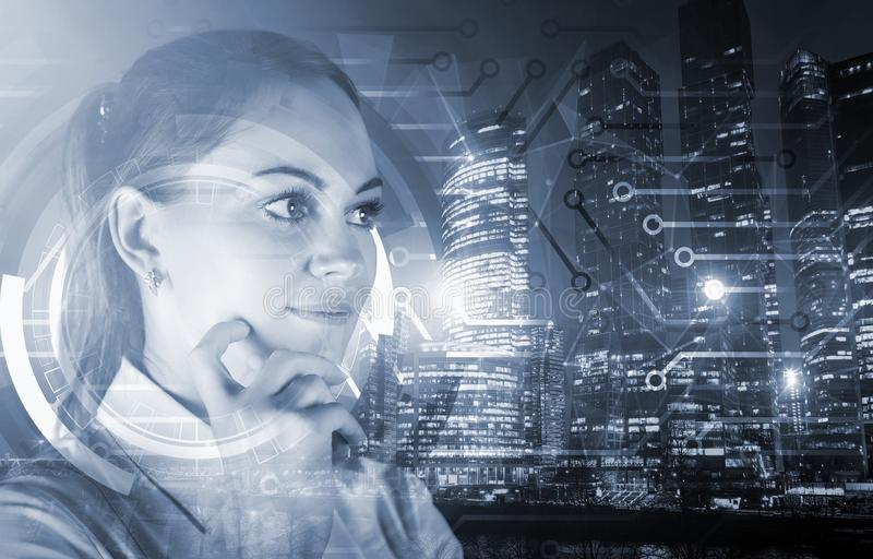 Portrait of attractive young european woman on abstract city background. Employment and research concept. Double stock image