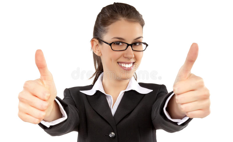 Download Portrait Of Attractive Young Female Student Showing A Thumbs Up Stock Image - Image: 33516001
