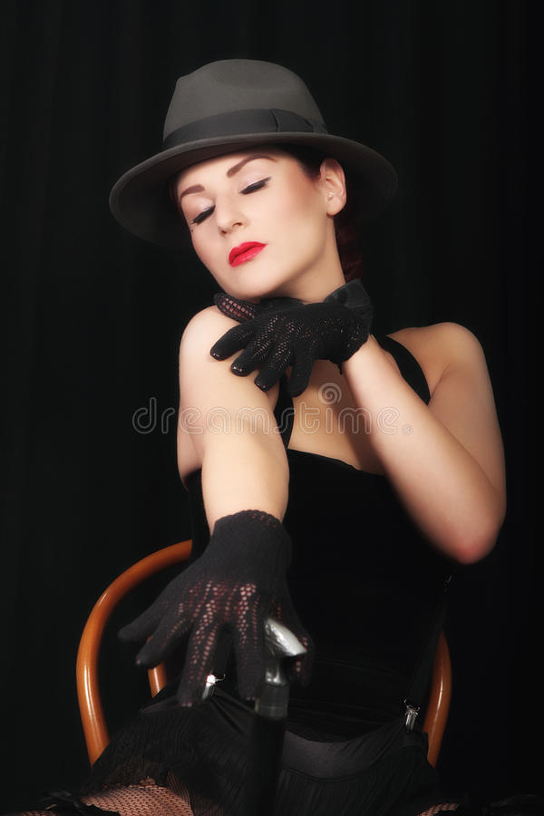Portrait of attractive young lady in hat stock photos