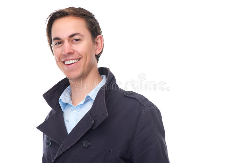 Download Portrait Of An Attractive Young Man Smiling With Blue Jacket Stock Photo - Image: 35476730