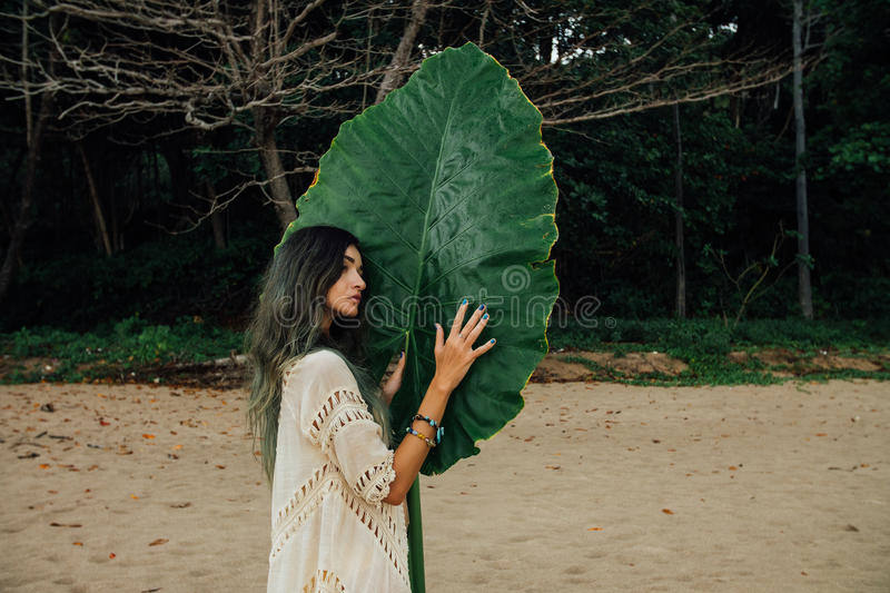 Portrait attractive young woman on background large green leaf tropical tree stock images