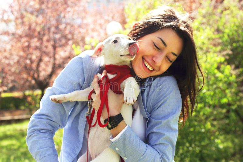 Portrait of attractive young woman hugging cute jack russell terrier puppy in park, green lawn, foliage background. Hipster female. In sunglasses smiling, pets stock photography