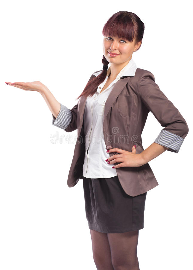 Portrait of attractive young woman showing something on her palm stock photos