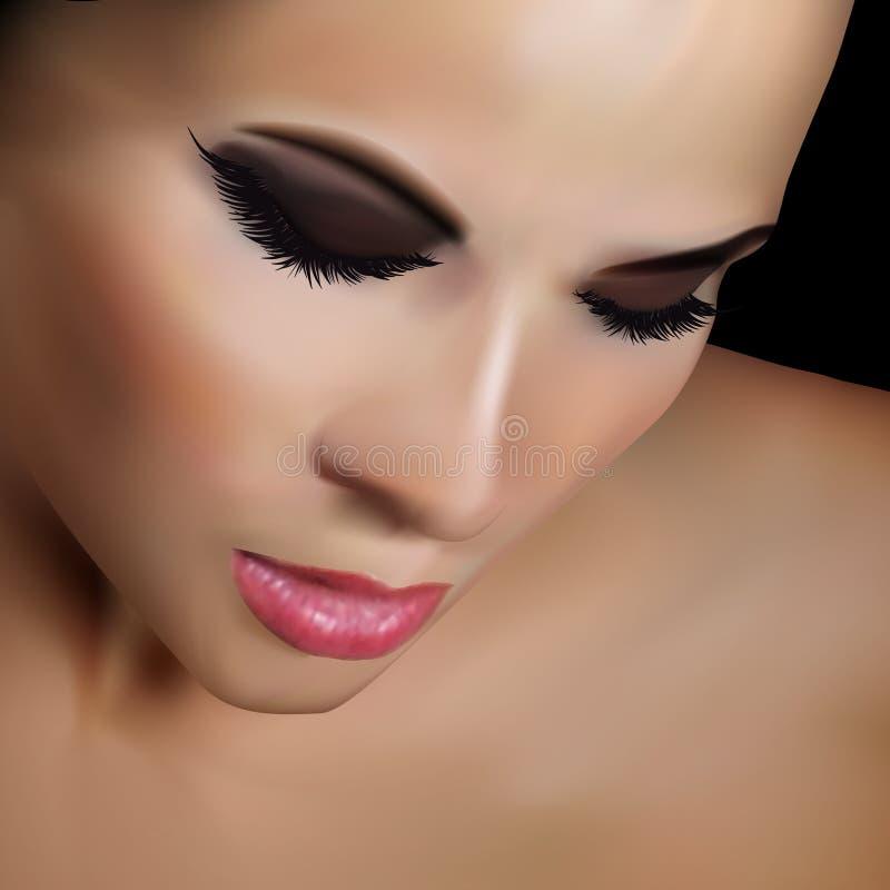 Portrait attrayant réaliste de femme calibre d'ANNONCE de l'illustration 3D image libre de droits