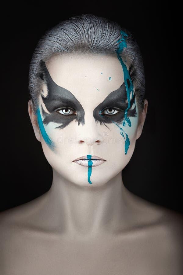 Portrait avec des filets de peinture images libres de droits