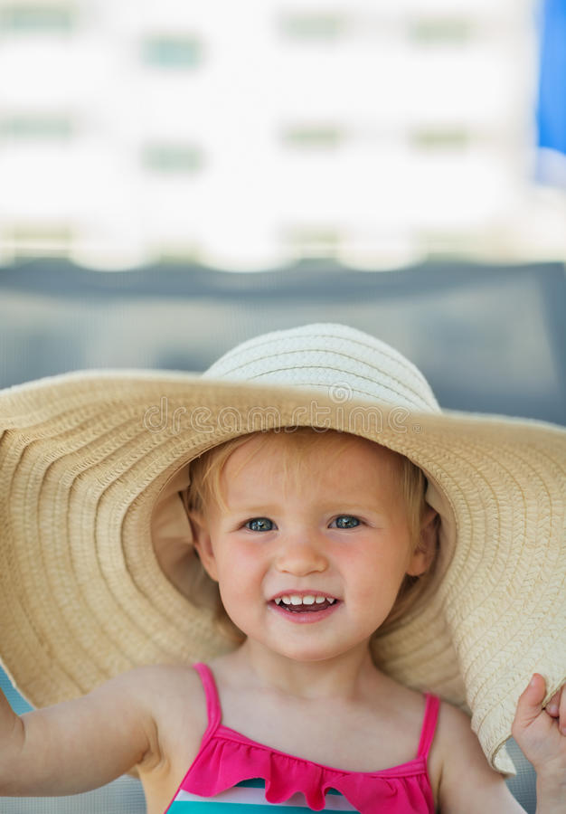 Download Portrait Of Baby In Beach Hat Stock Photo - Image of infant, holiday: 25470748