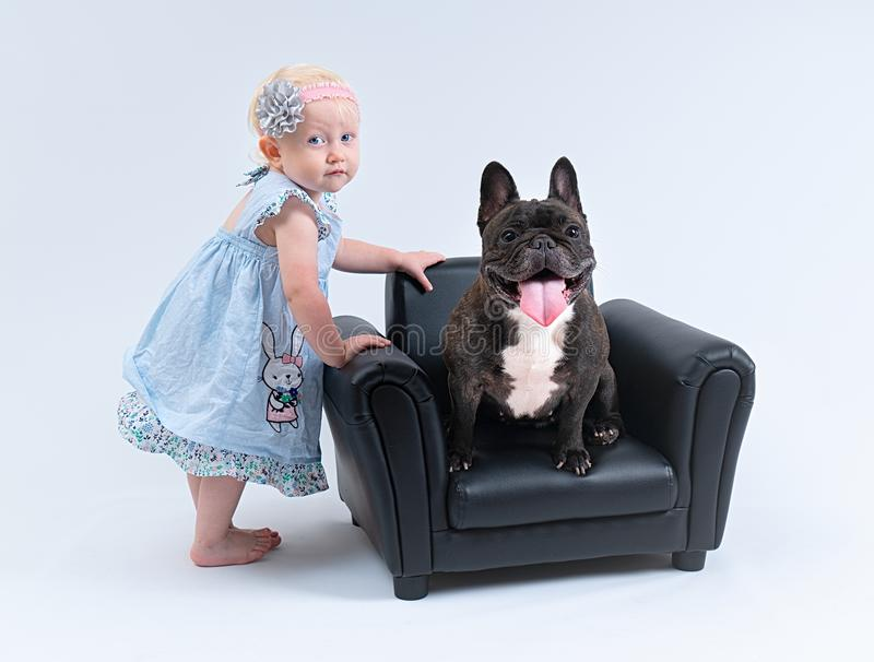Portrait of the baby girl and the dog.  stock photos