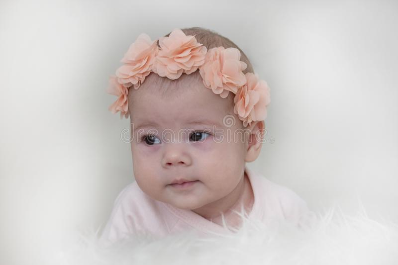Portrait of a baby girl 3 months learning to hold the head, pink flowers on the head. Child portrait close-up soft focus stock images