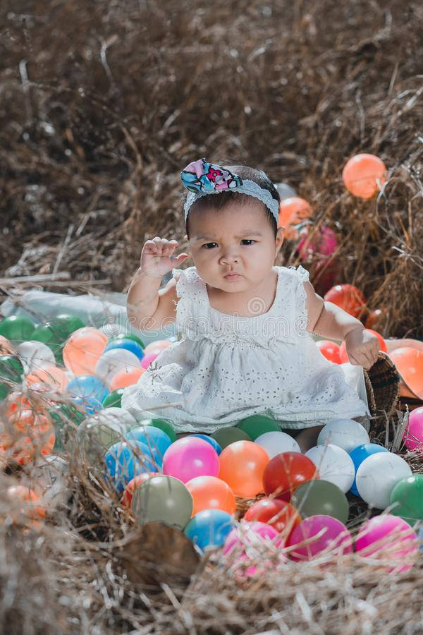 Portrait baby girl in nature royalty free stock photography
