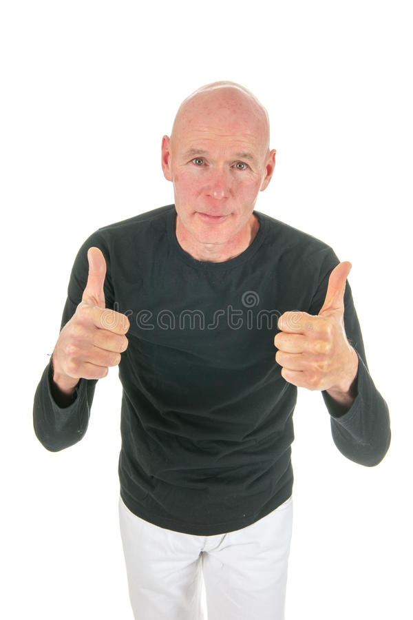 Download Portrait Bald Man With Thumbs Up Stock Image - Image: 27819497