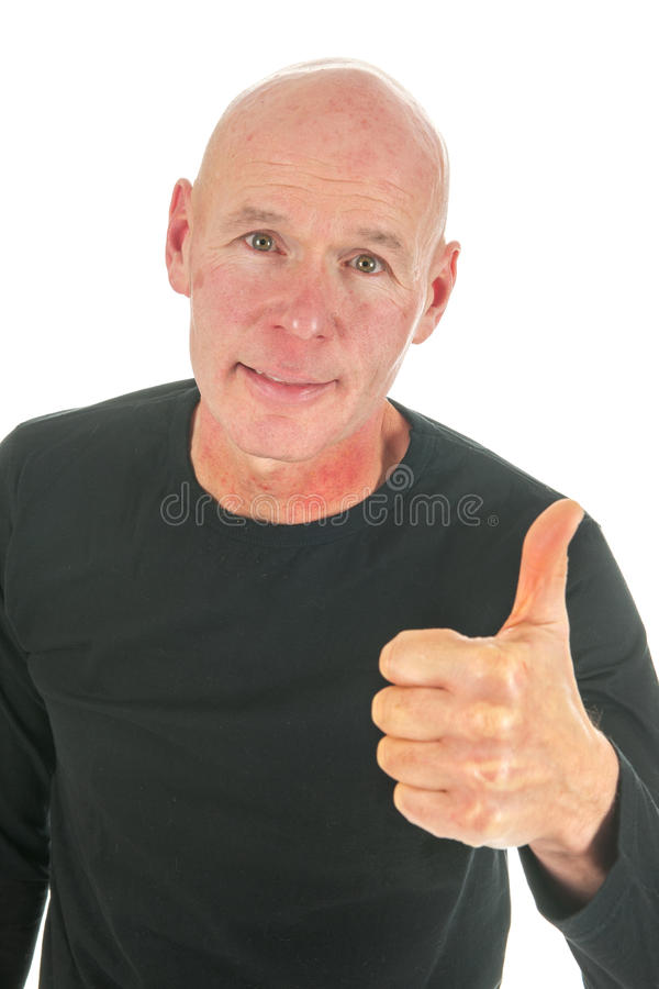 Download Portrait Bald Man With Thumbs Up Stock Image - Image: 27819503