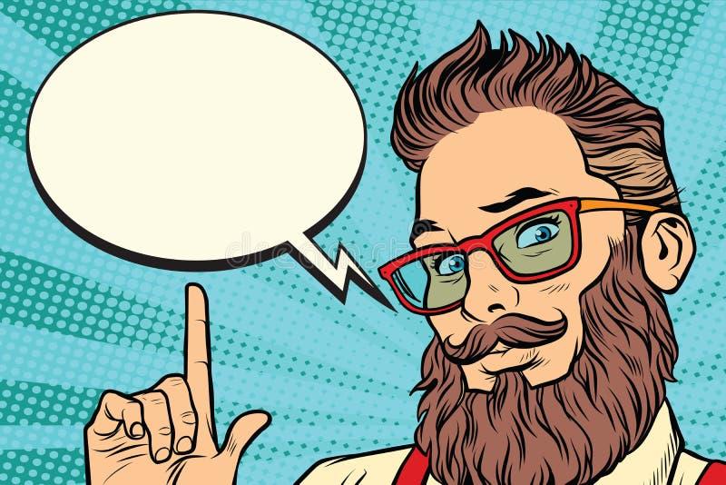 Portrait barbu d'homme de hippie dirigeant le doigt illustration libre de droits