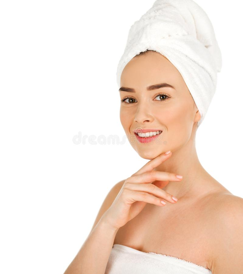 Portrait of a bared beautiful woman getting ready for the spa tr. Eatment, isolated on a white background, please see some of my other parts of a body images royalty free stock images