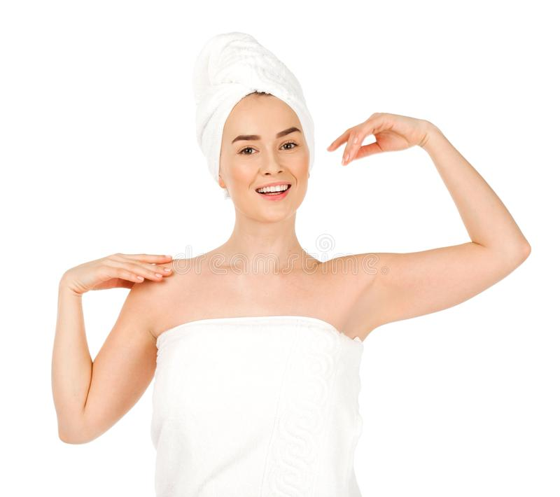 Portrait of a bared beautiful woman getting ready for the spa tr. Eatment, isolated on a white background, please see some of my other parts of a body images royalty free stock image