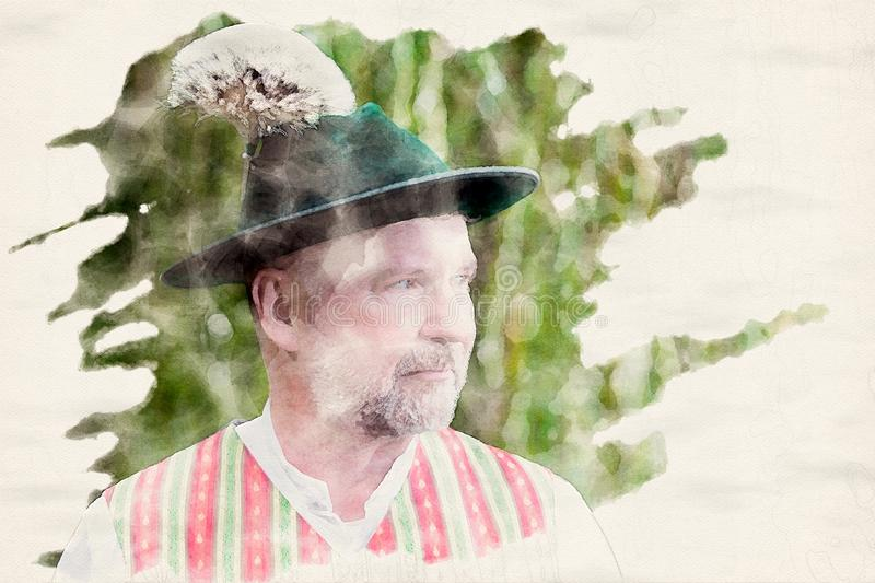 Portrait of a bavarian man with a hat outdoors. In watercolors vector illustration