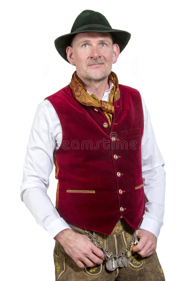 Portrait of bavarian man in traditonal clothes stock photo