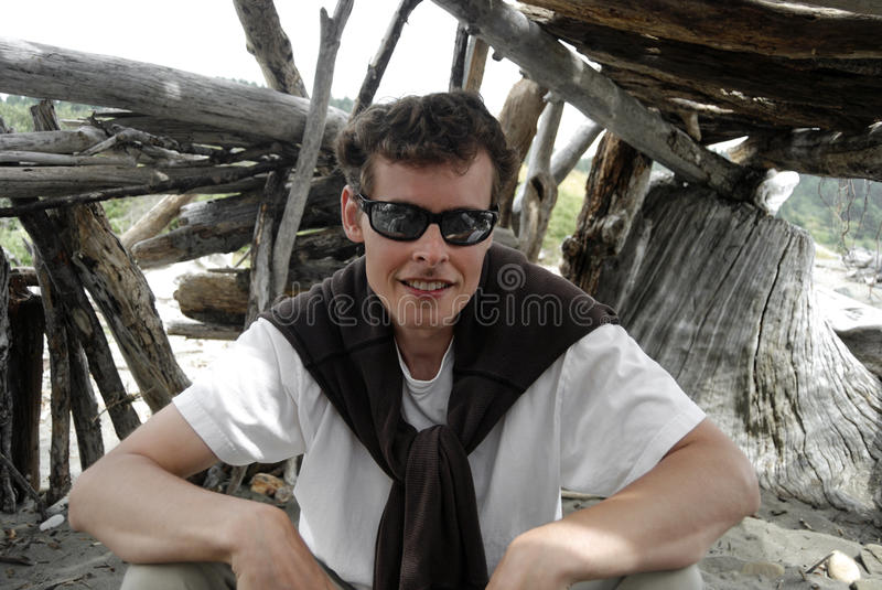 Portrait in a beach fort stock photos