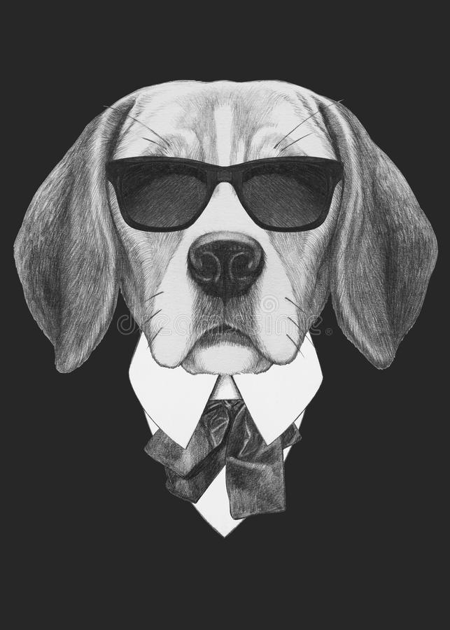 Portrait of Beagle in suit. Hand drawn illustration vector illustration