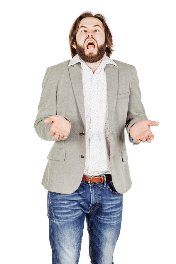 Portrait of bearded business man is sneezing royalty free stock photos