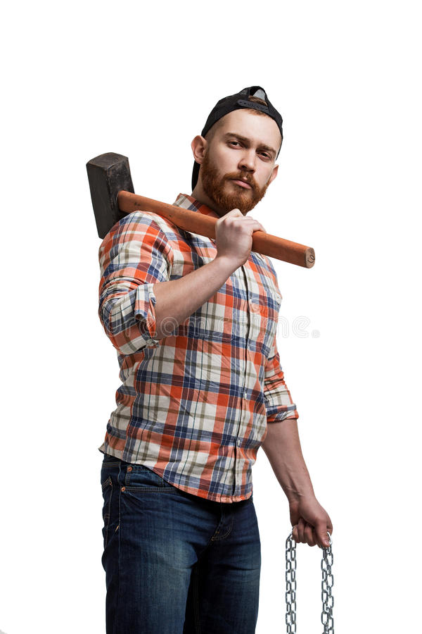 Portrait of bearded man with hammer royalty free stock photos