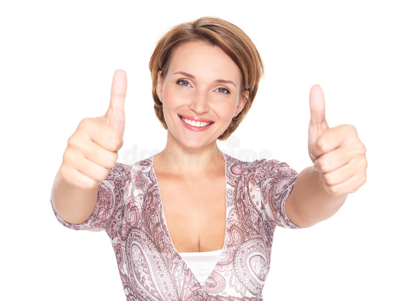 Portrait of a beautiful adult happy woman with thu stock photography