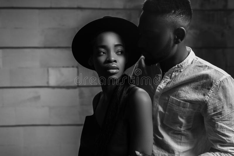 Strong love connection. African American couple. Young fashionab stock photography
