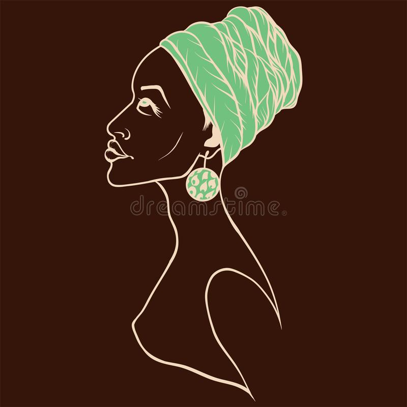 Portrait of beautiful African American woman in wight line art style. Side view. Vector portrait of beautiful African American woman in wight line art style stock illustration
