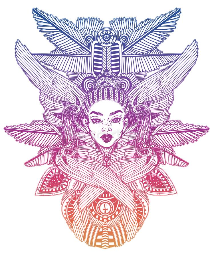 Portrait of the a beautiful African winged goddess. Hand drawn romantic ethnic winged Angel girl. Alchemy, religion, spirituality, occult magic, tattoo stock illustration